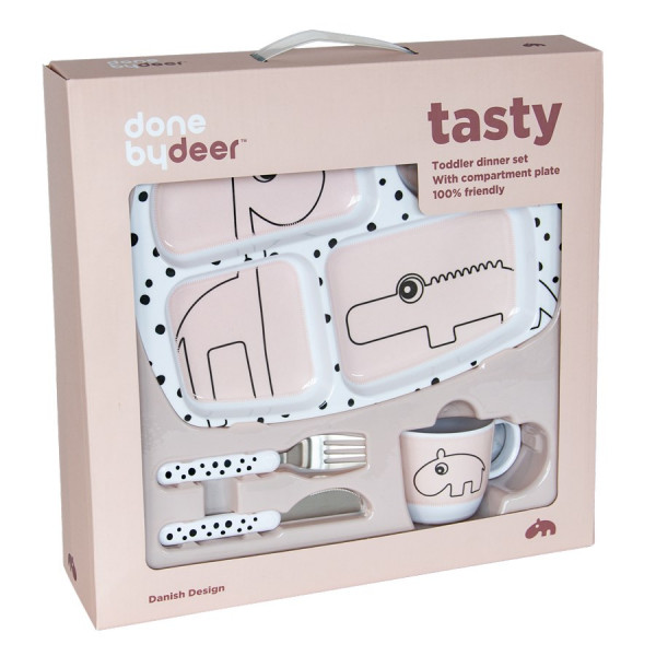 "Done By Deer ""Toddler dinner set"" Happy dots, powder"