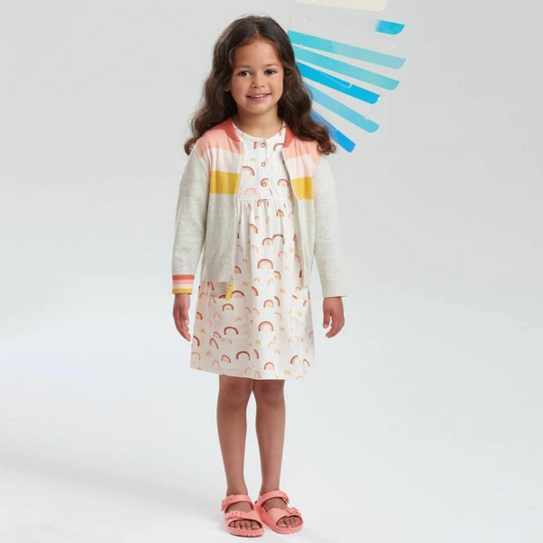 the Bonnie mob, Kids Carmel Printed Dress with pockets, Peach Rainbow