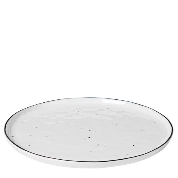 """Broste Copenhagen, Speiseteller Dots' """"Salt"""". White Black, ø28"""