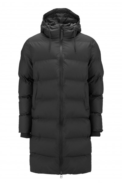 Rains, Long Puffer Jacket, Black
