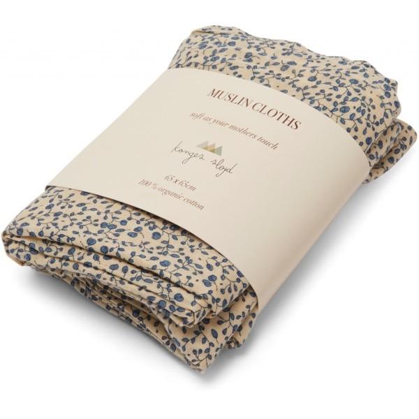 Konges Sløjd, 3 Pack Muslin Cloth, blue blossom mist