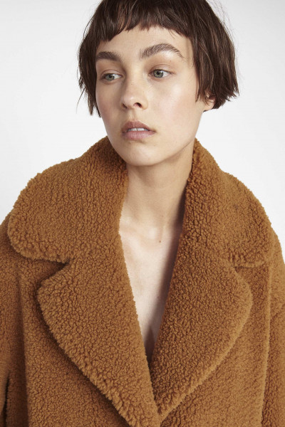 STAND Studio, Camilla Coat, Faux Fur Recycled Teddy, Caramel