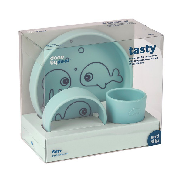 """done by deer """"silicone dinner set"""" sea friends, blue"""