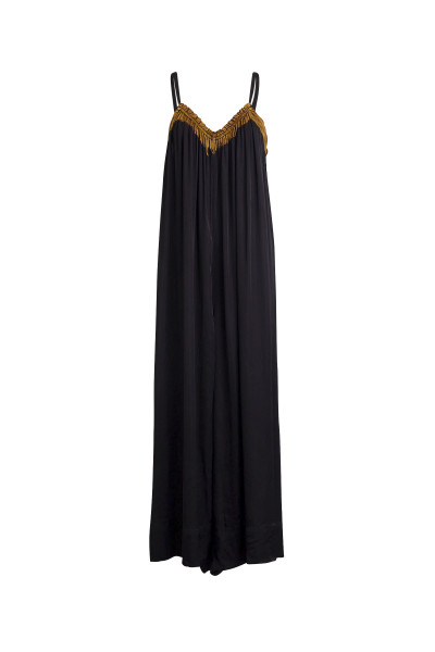 Rabens Saloner Painted Border Jumpsuit, Karissa, Faded Black