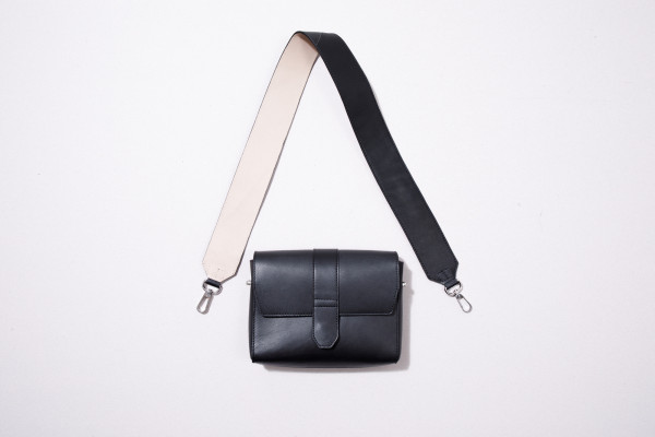 Leather Shoulder Strap, black/beige