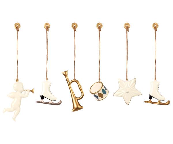 Maileg, Ornament Box, Metal - White / Gold