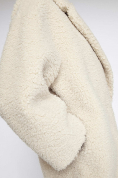 STAND, Nicole Coat: Faux Fur Fluffy 113 cm, Off White