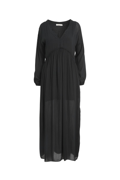 Rabens Saloner - Kathrine, Crinckle Long V Dress, Faded Black
