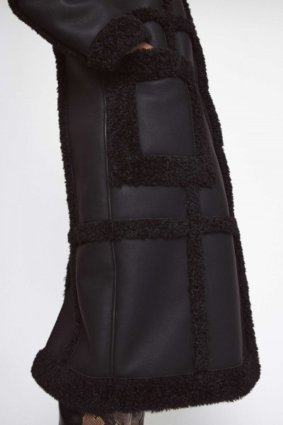 STAND, Patrice Coat: Faux Shearling Faux Fur, Black/Black