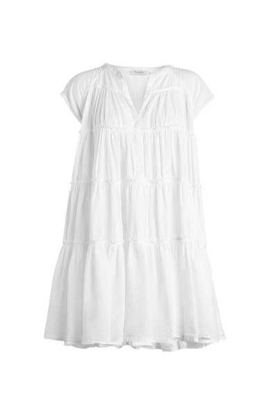 Rabens Saloner, Jytte, Cotton gathered short dress, White