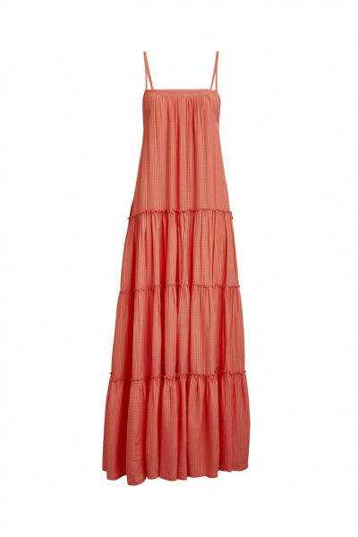 """Rabens Saloner """"Elene"""" Sheer check long dress, Mandarin, S"""
