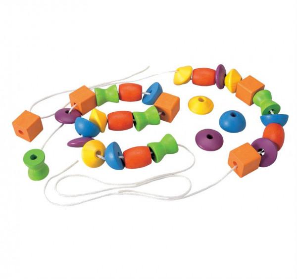 Plan Toys, Lacing Bead, (Holzperlen zum Fädeln)